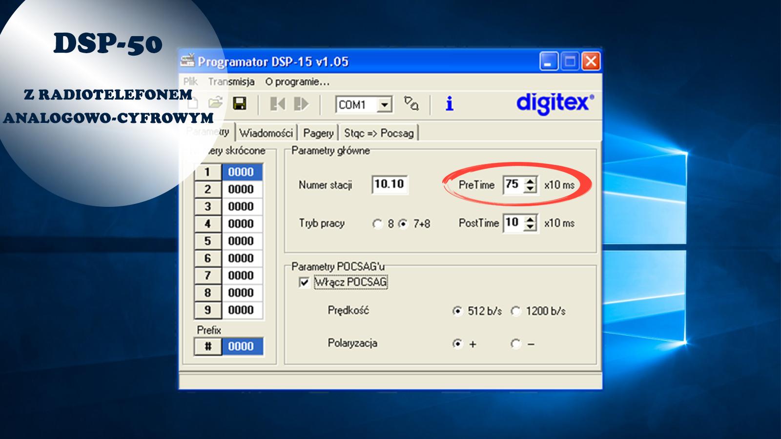 Ustaw pretime w DSP-50 z cyfrowym radiotelefonem